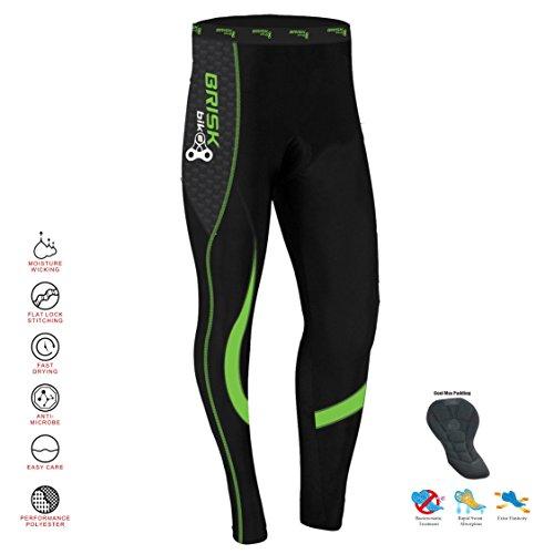 Brisk Bike Thermo-Radhosen Fahrradhosen Radsport-Leggings Fahrradhosen Radlerhosen gepolsterte Radhosen professionelle Radhosen Fahrradkleidung Mountainbike (Black/Green, XL)