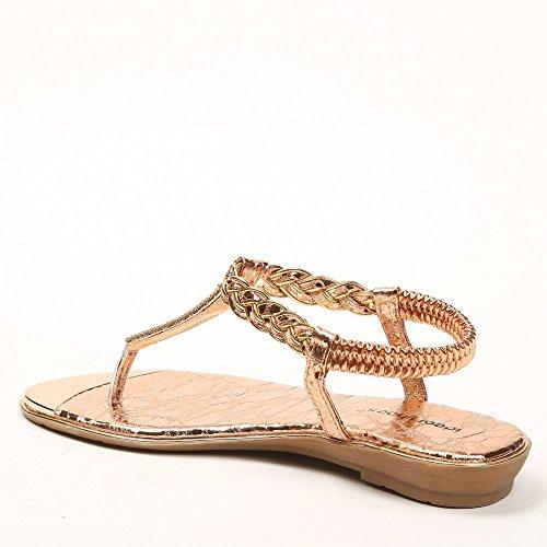 Ideal Shoes Sandalen Flache mit Bride Geflochten und Strass gloriana, Gold - Champagne - Größe: 39