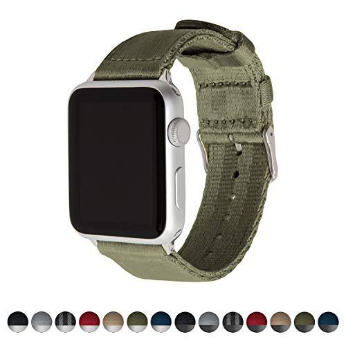 Archer Watch Straps   Cinturón de Seguridad Correa de Reloj de Nailon para Apple Watch, Hombre y Mujer   Verde Oliva/Acero Inoxidable, 42mm