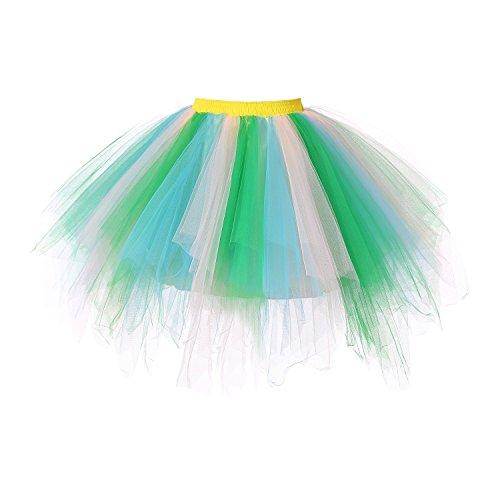 euheiten Tutu Unterkleid Rock Ballet Petticoat Abschlussball Tanz Party Tutu Rock Abend Gelegenheit Zubehör Blau Grün und Champagner (Adult Cosplay Pics)