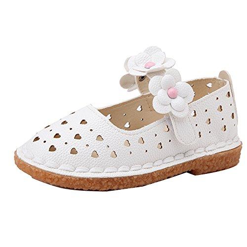 Gaorui Baby Mädchen Riemchenballerina Geschlossene Ballerinas für Prinzessin mit Blumen weich Sohle 3 Farben Weiß
