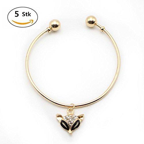 MAXGOODS 5 Stk Damen Rose Gold Metallic Armband Kristall Strass (Kostüm Fox Woman)