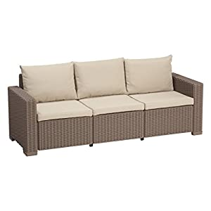 Allibert by Keter California 3 Seater Rattan Sofa Outdoor Garden Furniture – Cappuccino with Sand Cushions