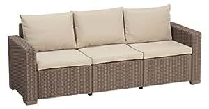 Allibert California 3 Seater Sofa - Cappuccino with Sand cushions