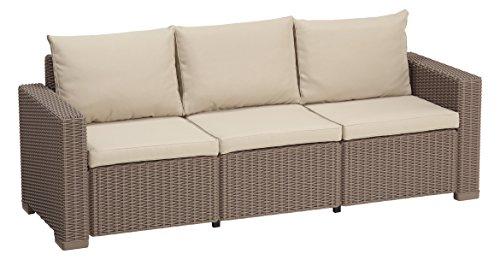 Allibert by Keter California 3 Seater Rattan Sofa Outdoor Garden Furniture – Cappuccino with Sand Cu