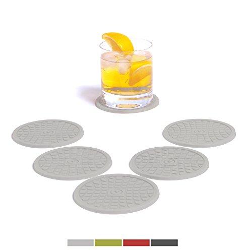 vendolo vetro-Sottovaso rotondo (Set da 6) colore a scelta/bevande-Sottopentola in silicone per bicchieri, bicchieri e bottiglie in soggiorno, in cucina, al tavolo e al bar dei Hell-Grau
