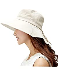 Comhats Algodon Sombreros Playa Mujer Verano Sombrero ala Ancha Sol Gorras y Sombreros protección UV Tapa Abatible UPF 50 +Beige M