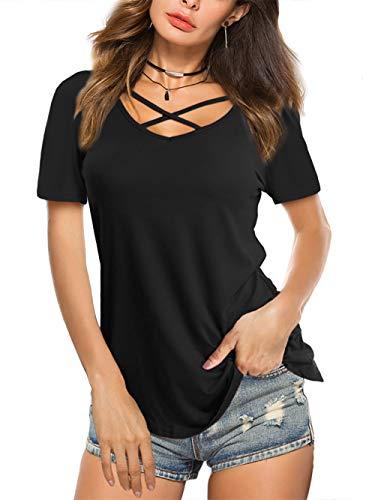 Beluring Damen Sommer T-Shirt V-Ausschnitt mit Schnürung Bandage Vorne Kurzarmshirt,Schwarz 2XL