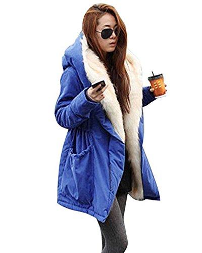 Minetom Femmes Manteau Mode Outwear Hiver Cardigan à Manches Longues Parka Jacket Trench-coat Veste Faux fourrure Chandail LâChe Casual Hoodie Sweatshirt Oversized Bleu FR 46