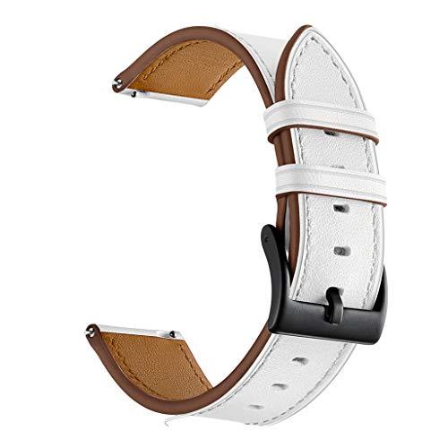 Jamicy® Lederarmband 20mm Armband kompatibel für Garmin vivoactive 3 Watchband, Armband für Garmin Vivoactive 3 / Garmin Vivomove/Samsung Gear Sport/Samsung Gear S2 (Weiß)