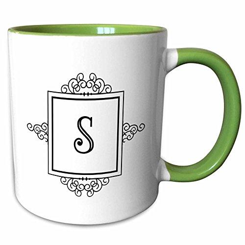 3dRose Mug_154342_7 Initial Letter S Personal Monogrammed Fancy Black Keramiktasse, Keramik, grün/weiß