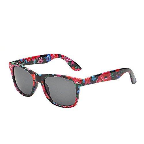 Retro Vintange Revo Sonnenbrille Dame Herre Federscharnier Horn mit Rand UV400 Rote Blumen Rahmen