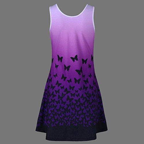 FNKDOR New Womens Elegant Evening Dress Butterfly Printing Sleeveless Party Dress Vintage Casual Dress(PurpleUK-12/CN-S)