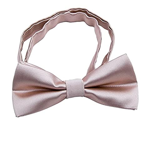 Kids Pre Tied Formal Bowties - Solid Color Adjustable Silk Wedding Tuxedo Bow ties (Naked pink)