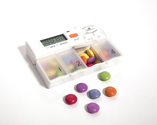 TabTime 4, Pill Dispenser-Reminder, 4 Audio -Visual Alarms Per Day, EXTRA Large Pill Compartments. Medication Reminder With Alarm. - Pille-dispenser-timer