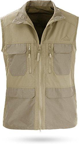 normani Outdoor Weste Freizeitweste Safariweste mit Sonnenschutz 50+ und vielen praktischen Taschen Farbe Khaki Größe 5XL