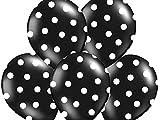 SiDeSo® 10 Luftballons mit Punkten Heliumgeeignet Party Geburtstag Jahrestag (schwarz mit weißen Punkten)
