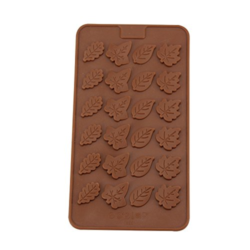 Schokolade Form Leaf Shape Silica Gel Form für Kuchen Schokolade Jelly Cookie Pudding DIY Dessert Küche Backen Werkzeug 24Löcher (Die Ist Tray Und Klinge)