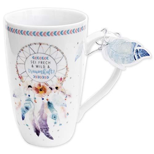 Die Geschenkewelt 45693 große Kaffee-Tasse mit Design Traumfänger, mit Geschenk-Anhänger, Porzellan, 50 cl (Große Tassen)