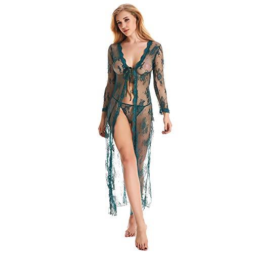 COUXILY Damen Sexy Dessous Spitze Negligee Kurz Kimono Robe Set Nachtwäsche mit Gürtel und G-String Bikini Cover up (dunkelgrün, S)