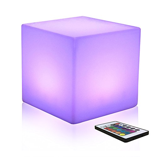 10-inch Farbwechsel Würfel-Licht LED Stimmungslicht mit Fernbedienung, Dimmbar Nachtlicht Wiederaufladbare Batteriebetriebene Tischlampe für Schlafzimmer, MEHRWEG