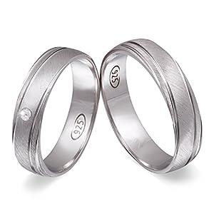 Juwelier Schönschmied – Zwei Trauringe Verlobungsringe Eheringe Ginger Silber Zirkonia inkl. persönliche Wunschgravur 50-52 NrS101HD