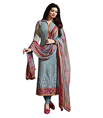 KFHub Women's Grey Designer Beautiful Georgette Embroidered Semi Stitched Party Wear Straight Salwar Suit Dress(Free-Size_Zubeda-Grey)