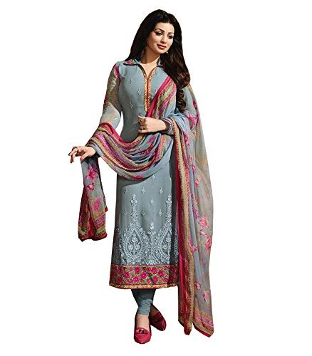 Fkart Women's Georgette grey Embroidered Long Semi-Stitched party wear Salwar with dupatta...