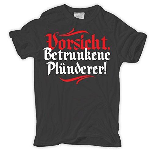 Männer und Herren T-Shirt VORSICHT betrunkene Plünderer (mit Rückendruck) Körperbetont schwarz