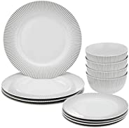 Amazon Brand - Solimo 12 Piece Dinnerware Set (Line Design)