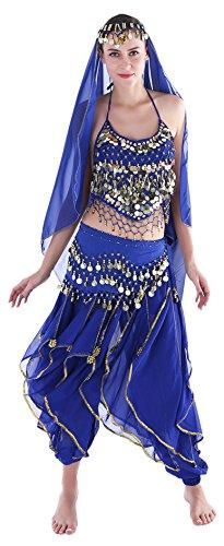 faschingskostueme bollywood Damen Faschings-Kostüm Indische Bauchtanzkostüme Hose Oberteil Hüfttuch Chiffon Knallblau