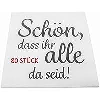 khevga 80 Stück Servietten Hochzeit Taufe weiß Schön, DASS Ihr alle da seid (80)