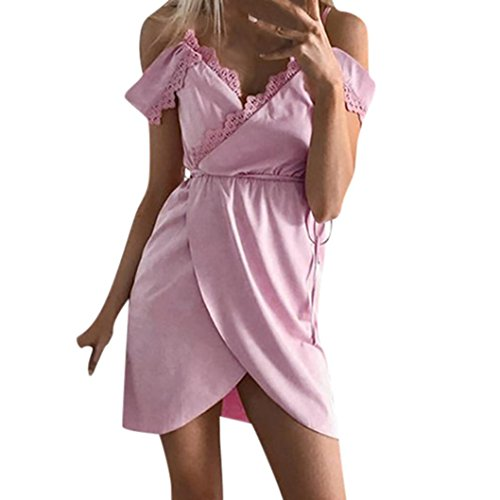 Kxnet Womens V-Neck Spaghetti Strap Lace Patchwork Mini Party Beach Wrap Dress (L, Pink)