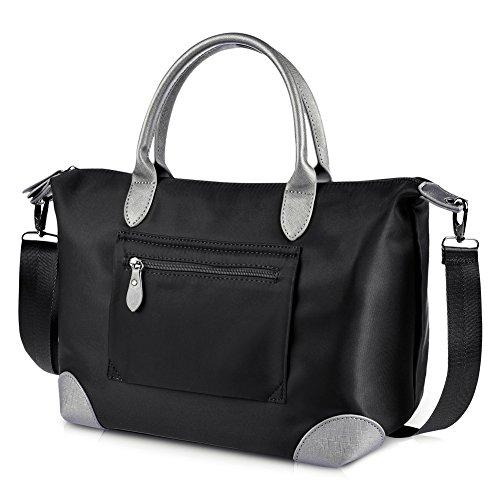 Imagen de vbiger bolso de hombro bolso de moda bolso de mano bandolera  de tela oxford para mujeres negro
