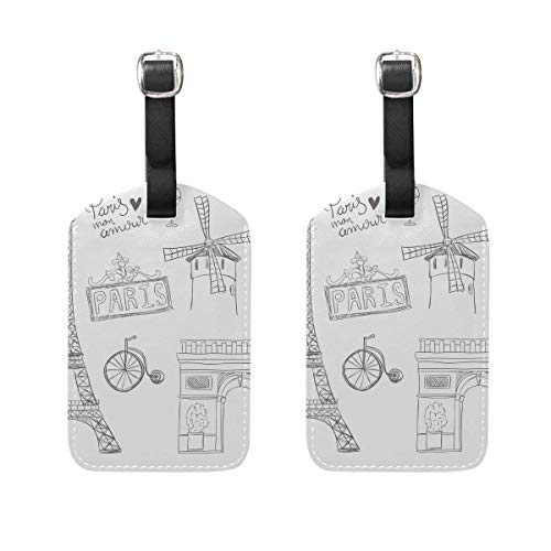 Paris Elements Drawing Luggage Tags Suitcase Leather Baggage Tags Travel Accessories Set of 2