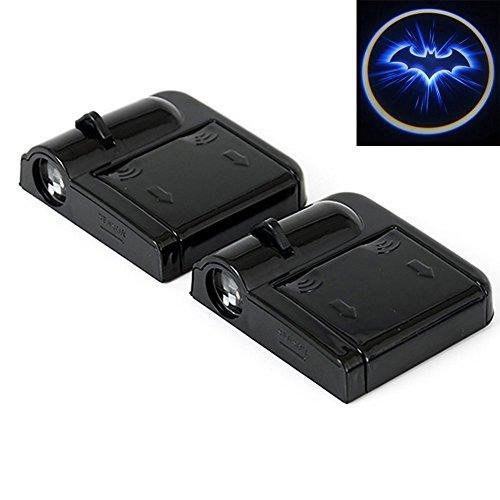 2er Auto Türbeleuchtung, Intsun Wireless LED Auto Tür Projektor Lichter mit 3 AAA-Batterien(im Lieferumfang nicht erhalten), Schatten Willkommen Logo, Auto Tür Drahtlose Logo, Schatten Lampen, Blau Fledermaus Batman Geist Form Laser Projektions Magnet Sensor