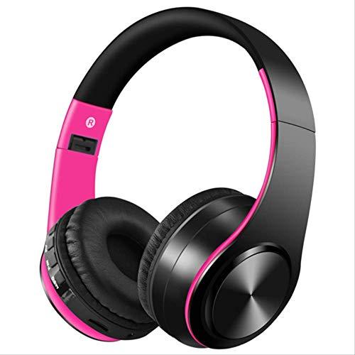 PMWLKJ Bluetooth Kopfhörer Kopfhörer Sport Unterstützung Tf Fm Radio Bass Für Computer Beste Kopfhörer Wireless Mit Mikrofon rosa (Wireless Mikrofon Rosa)