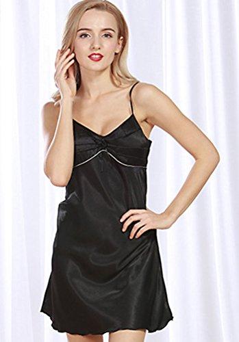 WanYang Donna Sexy Cinghia Di Spaghetti Camicia Da Notte Classic Semplice Camicia Da Notte In Raso Nero