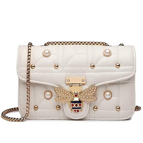 Biene Messenger (Designer Frauen Umhängetasche Kette Gurt Klappe Damen Leder Handtaschen Messenger Bag Frauen Clutch Bag Biene Schnalle Geldbörse (Color : White))