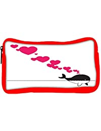 Snoogg Eco Friendly Canvas Abstract Illustration Of Whale With Hearts Student Pen Pencil Case Coin Purse Pouch...