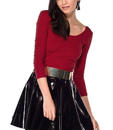 Kefali Damen Langarmshirt U-Boot-Ausschnitt Bluse Rückenausschnitt T-Shirt Viskose Bordeaux Rot