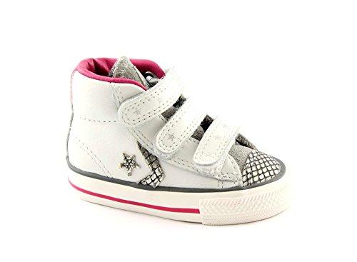 746384c Converse Prata Branco Sapatos Estrela Plyr Ev V4 Todo O Bebê Tränen Bianco