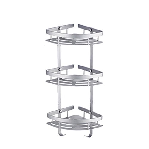 Zfggd Space Aluminium Bathroom Shelf 3tier Wandhalterung Eckstativ, Silber - 3-tier Bathroom Regal