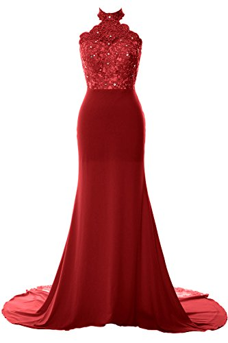 MACloth Women Mermaid Halter Lace Jersey Long Prom Dress Formal Evening Gown Burgundy