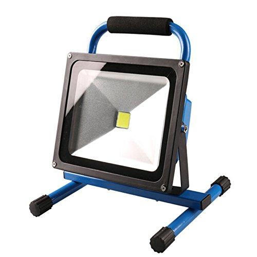 50w Flutlicht-metall (SAILUN 50W Warmweiß Blau LED Mit Akku Baustrahler Fluter Handlampen Flutlicht Arbeitsleuchte Tragbar wiederaufladbare Fluter IP65 (50W Warmweiß))