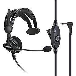 COODIO Motorola TLKR Radio Casque 1-Pin Oreillette Écouteur [Pivotant Boom Microphone] [Antibruit] pour Motorola TLKR Talkie Walkie Radio
