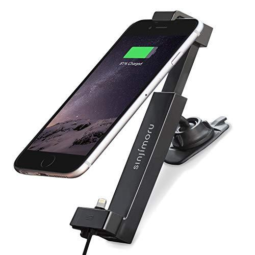 Sinjimoru iPhone Halterung fürs Auto, Smartphone Halterung mit USB Ladekabel / Handyhalterung Auto inkl. Kabel kompatibel mit iPhone, Autohalterung mit Ladekabel, Sinji Car Kit, iPhone Basic Paket.
