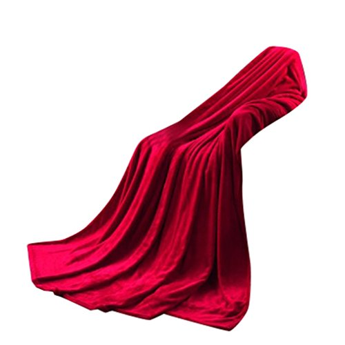 OVERDOSE Super Weiche Wärme Solide Microplush Fleece Decke Wurf Wolldecke Schlafsofa Fleece Blanket (50 * 70cm, A-Red)