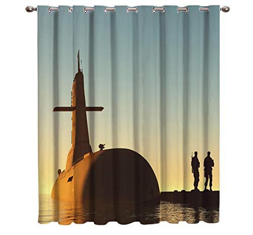 WKJHDFGB Amerikanischer Soldat Sonnenuntergang Silhouette Vorhänge Fenster Behandlungen Vorhänge Volant Raum Vorhänge Große Fenster Vorhang Lichter Bad Vorhang 160X135Cm