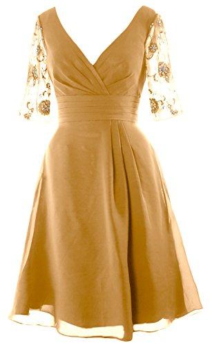 MACloth Women Half Sleeves V Neck Cocktail Dress Short Mother of the Bride Dress gold